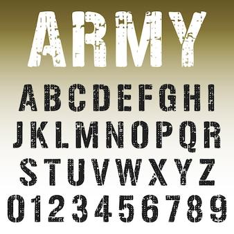 Alphabet schrift armee stamp design