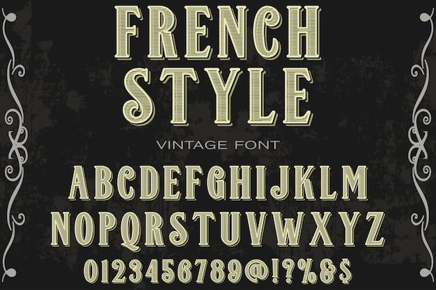 Alphabet schrift etikettendesign im französischen stil