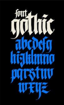Alphabet-schriftart im gotischen stil