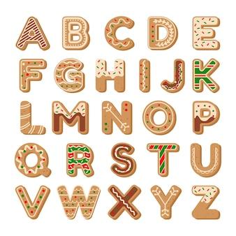 Alphabet-schriftart im weihnachtslebkuchen-cookie-stil