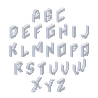 Alphabet-set. isometrische 3d-schrift aus kunststoffblöcken.