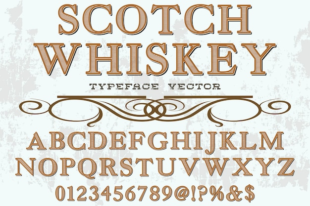 Alphabet shadow effect label design scotch whisky