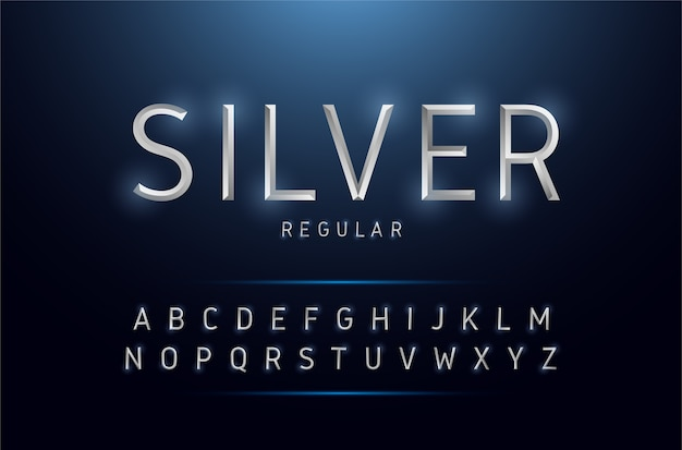 Alphabet silber metallic und effektdesigns