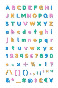 Alphabet und symbolsatz schriftart