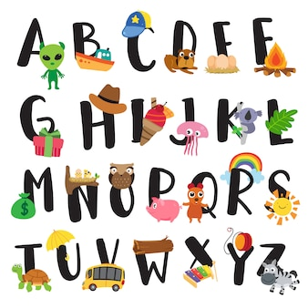 Alphabet-vektor-design für kind