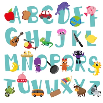 Alphabet-vektor-design für kind