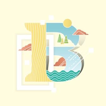 Alphabet vektor-illustration mit landschaft landschaft in flachen stil kombiniert