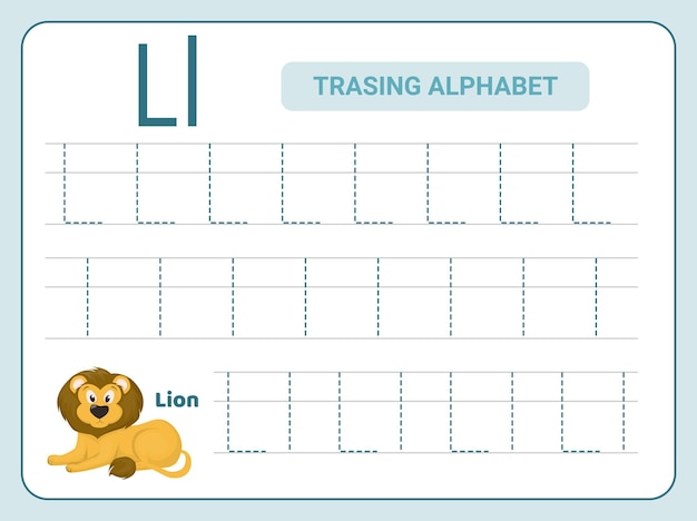 Alphabet-verfolgungspraxis für leter l-arbeitsblatt