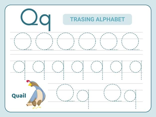 Alphabet-verfolgungspraxis für leter q-arbeitsblatt Premium Vektoren