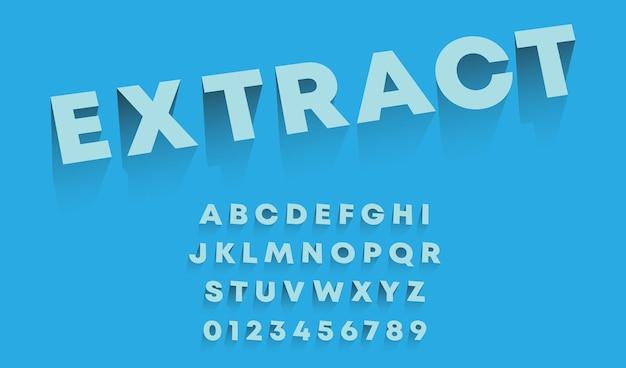 Alphabet-vorlage extrahieren. satz buchstaben und zahlen 3d-design. vektor-illustration.