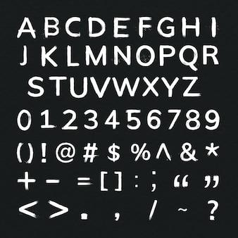 Alphabet, zahlen, symbole grunge pinselstrich typografie set