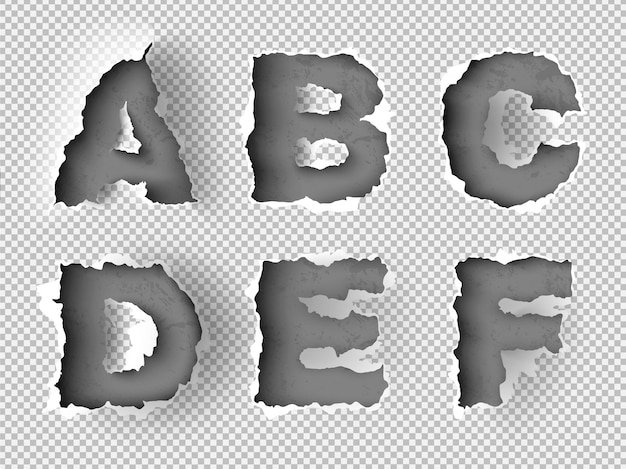 Alphabet zerrissenes papier auf transparentem hintergrund