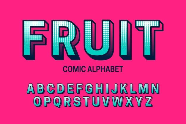 Alphabetbenennung von a bis z im komischen design 3d