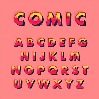 Alphabetbenennung von a bis z im komischen konzept 3d