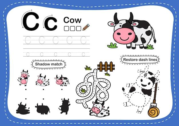 Alphabetbuchstabe c-kuhübung mit cartoonvokabular