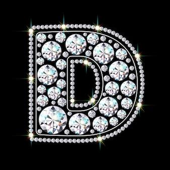 Alphabetbuchstabe d aus leuchtenden, funkelnden diamanten
