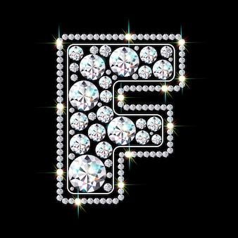 Alphabetbuchstabe f aus leuchtenden, funkelnden diamanten