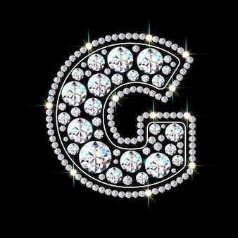 Alphabetbuchstabe g aus leuchtenden, funkelnden diamanten