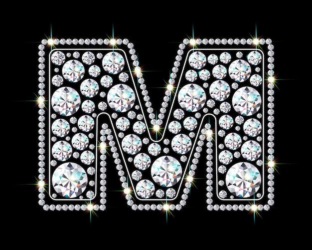 Alphabetbuchstabe m aus leuchtenden, funkelnden diamanten