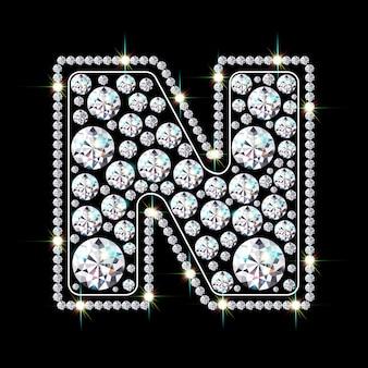Alphabetbuchstabe n aus leuchtenden, funkelnden diamanten