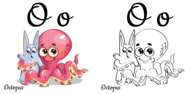 Alphabetbuchstabe o für kindererziehung mit lustigem karikaturrosa oktopus und hase. isoliert. lesen lernen. malvorlagen.