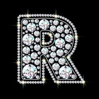 Alphabetbuchstabe r aus leuchtenden, funkelnden diamanten