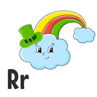 Alphabetbuchstabe r. regenbogen im hut. abc-karteikarten. karikatur niedlicher charakter lokalisiert auf weiß