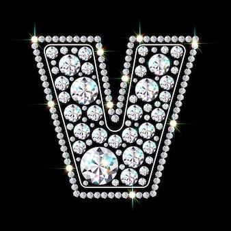 Alphabetbuchstabe v aus leuchtenden, funkelnden diamanten