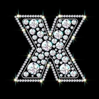 Alphabetbuchstabe x aus leuchtenden, funkelnden diamanten