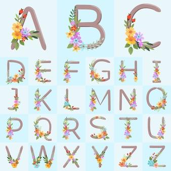Alphabetbuchstaben mit hand gezeichneten rustikalen blumen auf blauem hintergrundvektordesign.