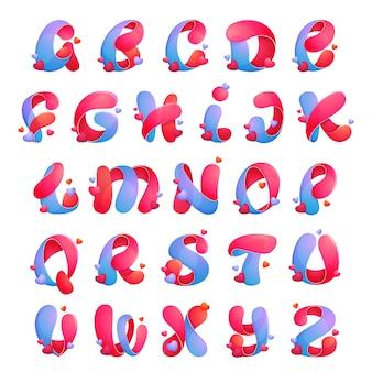 Alphabetbuchstaben mit herzen. schriftstil, designvorlagenelemente für ihre anwendung oder corporate identity.
