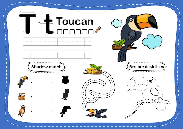 Alphabetbuchstaben-tukanübung mit cartoonvokabular