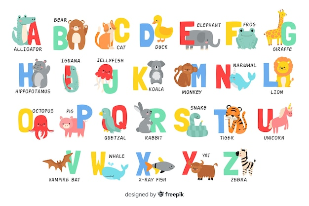 Alphabetbuchstaben von den tierformen