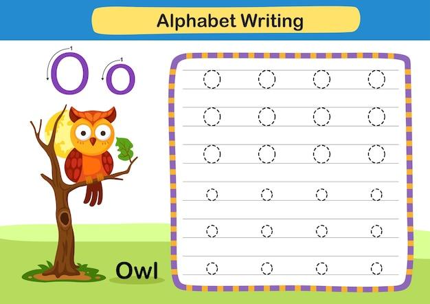 Alphabetbuchstabenübung o eule mit karikaturvokabularillustration