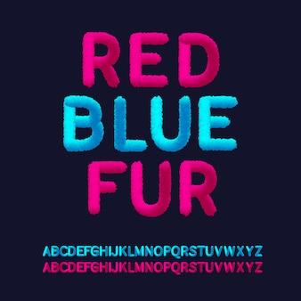 Alphabete im roten blauen pelzstil