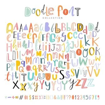 Alphabete, satzzeichen und zahlen-doodle-schriften eingestellt
