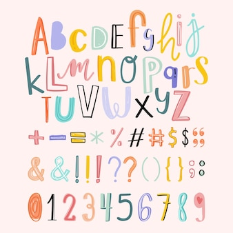 Alphabete, satzzeichen, zahlen-doodle-typografie-set
