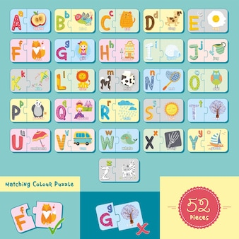 Alphabete und buchstaben, die puzzleillustration mit niedlichem design für kindererziehung zusammenbringen