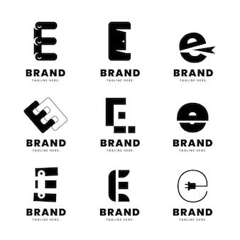 Alphabetische buchstaben e logo-sammlung