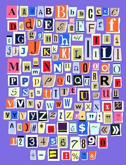 Alphabetische collage abc alphabetischer schriftbuchstabenausschnitt des zeitungsmagazins und der bunten alphabetischen handgemachten schneidetext-zeitungspapierillustration alphabetisch gesetzt gesetzt auf hintergrund