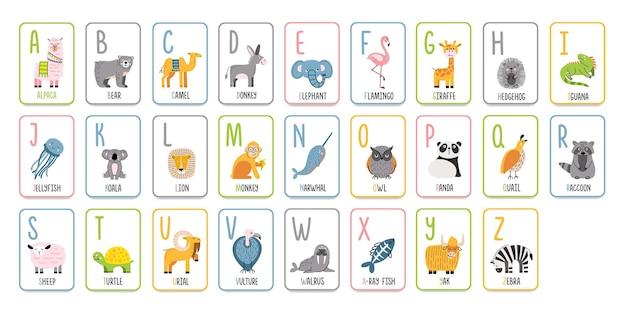 Alphabetische karteikarten mit tieren zum lernen im vorschulalter. englische buchstaben für kinder abc.