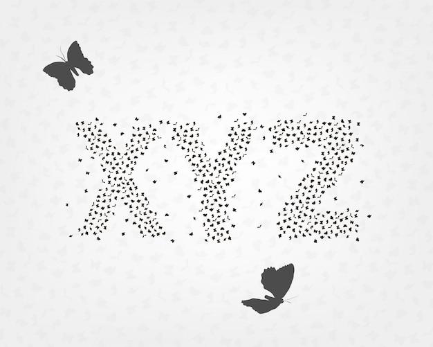 Alphabetischer satz von buchstaben von schmetterlingen und motten