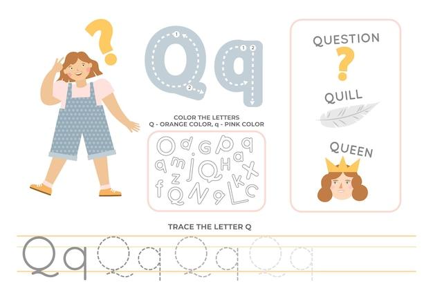 Alphabetisches arbeitsblatt mit dem buchstaben q