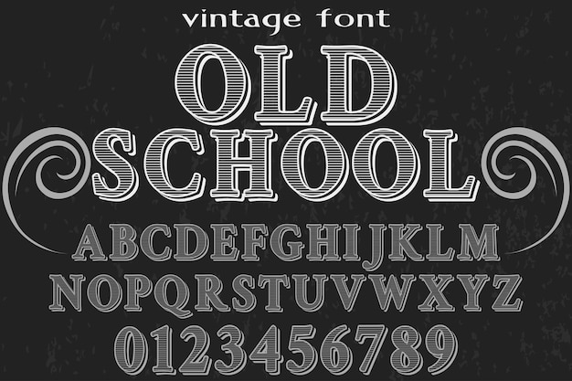 Alphabetschrifttypographie-schriftart-entwurfsschule der alten art