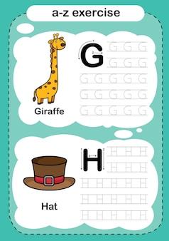 Alphabetübung mit cartoon-vokabular