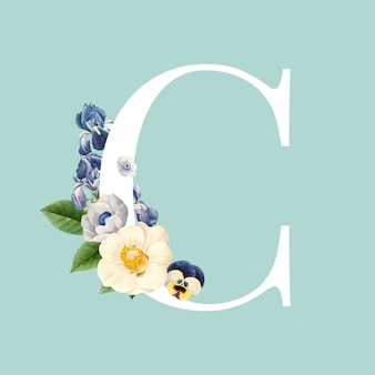 Alphabetvektor des blumenhauptbuchstaben c