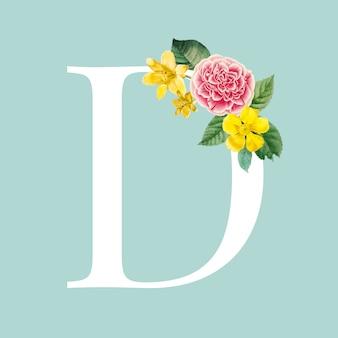 Alphabetvektor des blumenhauptbuchstaben d
