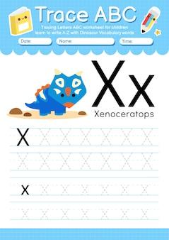 Alphabetverfolgungsarbeitsblatt mit dinosauriervokabularbuchstabe x.
