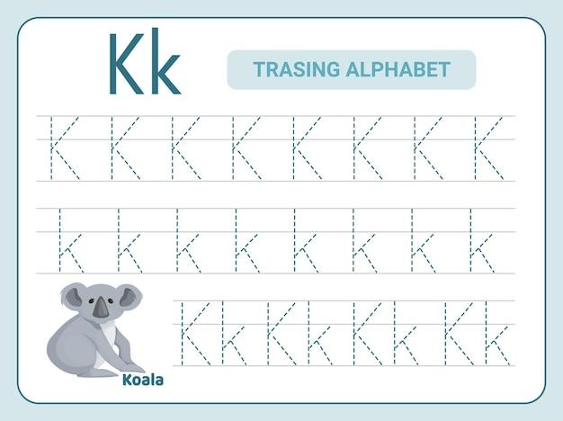 Alphabetverfolgungspraxis für leter k-arbeitsblatt