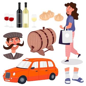 Als fröhlicher georgischer mann mit großem schnurrbart geht das mädchen einkaufen, beine in socken und hausschuhen, ein fass wein, flaschen weiß- und rotwein.